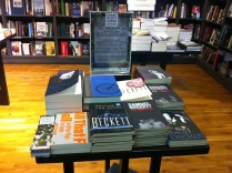 The special Beckett table in Hodges Figgis Bookstore featuring our 2014 bookmarks