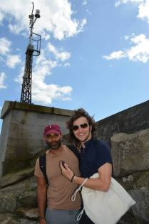 Khaleem Ali and Sam Terry at the anemometer during the Beckett Country tour
